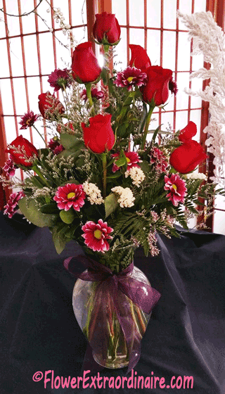 flowers in vase red roses, more