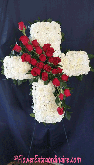 floral sprays white cross red roses